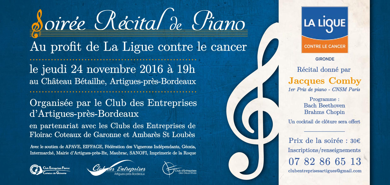 Soirée Récital de piano en faveur de la Ligue contre le cancer Jeudi 24 novembre à 19h00