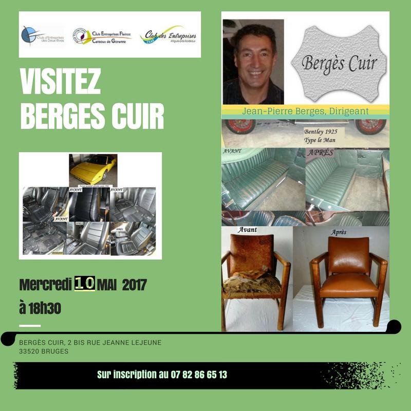 Visite de l'Entreprise ARTISANALE BERGES CUIR  le Mercredi 10 mai à 18h30 à Bruges