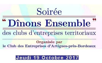 Soirée trimestrielle des Clubs d'Entreprises territoriaux «Dînons ensemble»  jeudi 19 OCTOBRE 19h00