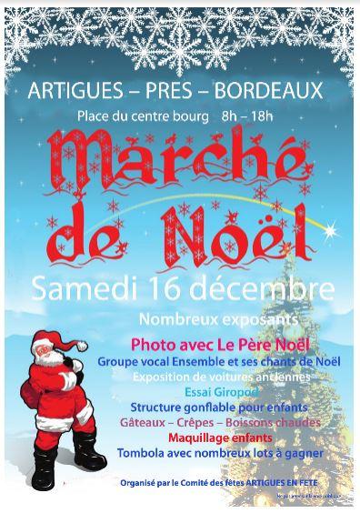 Marché de Noël Artigues le 16 décembre de 8h à 16h place du centre bourg