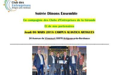 Soirée Dînons Ensemble Jeudi 08 mars 2018 19h00 Campus Atlantica Artigues