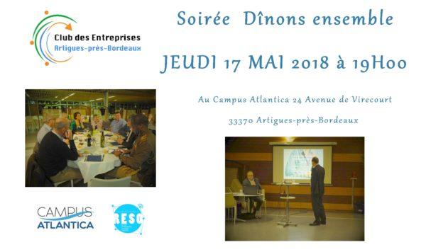Soirée Dînons Ensemble le JEUDI 17 MAI 2018 à 19h00 à Artigues-près-Bordeaux