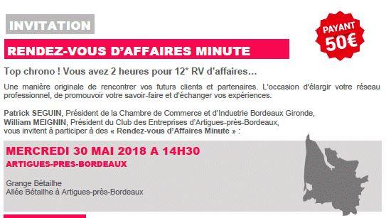 TOP CHRONO 12 Rendez-vous d'affaires en 2 heures avec la CCI Bordeaux Gironde le 30 MAI 2018
