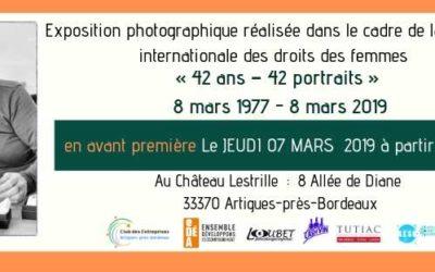 EXPOSITION PHOTOGRAPHIQUE  « 42 ans – 42 portraits »  EN AVANT PREMIÈRE  le 07 mars 2019 à 19h00