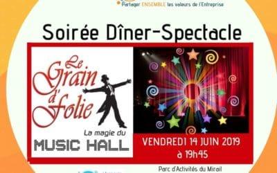 Soirée Dîner-Spectacle au Cabaret Le Grain d'Folie le 14 Juin 2019 à 19h45