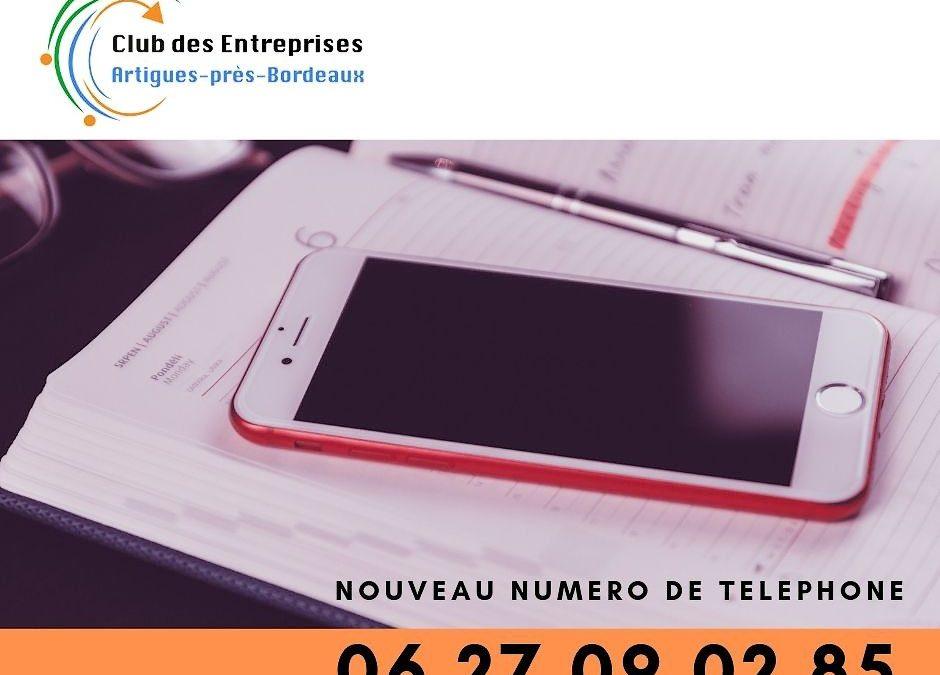 NOUVEAU NUMERO DE TELEPHONE