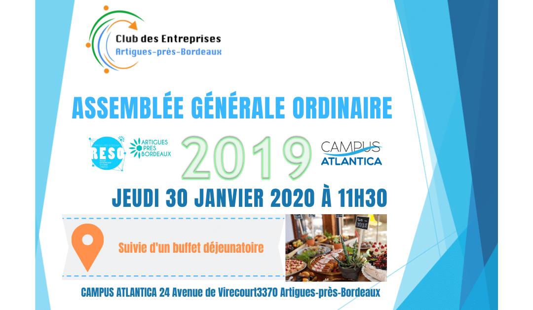 Assemblée Générale Ordinaire le 30 janvier 2020 11h30 suivie du repas